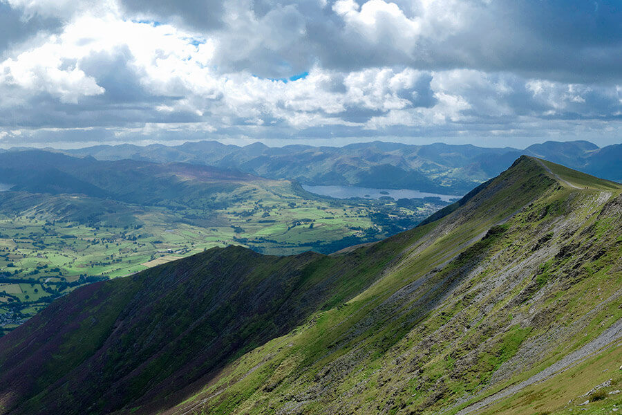 The vale of Keswick from Blencathra in the Lake District