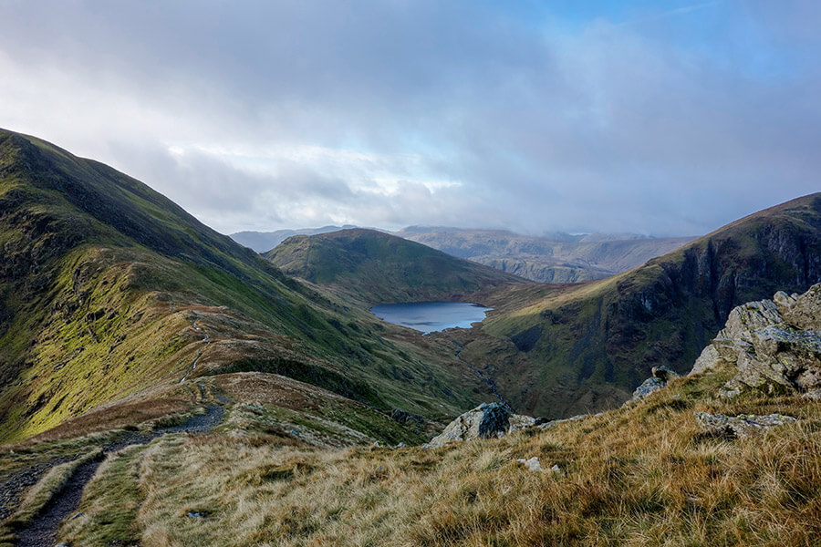St. Sunday Crag, Seat Sandal, and Dollywaggon Pike with Grisedale Tarn between them in the Lake District