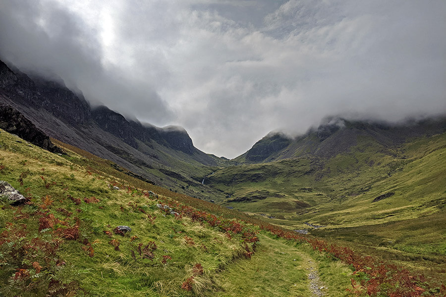 Looking up the valley between High Spy (left) and Dale Head in the Lake District